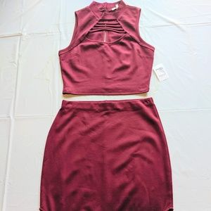 NWT Burgundy Crop Top and Skirt Size M